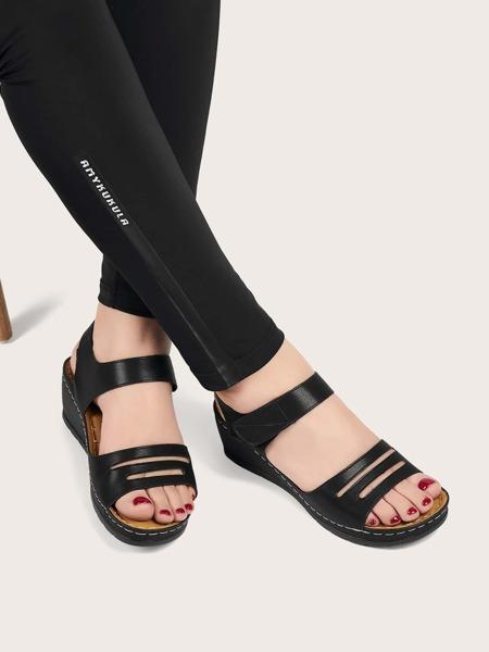 Velcro Strap Wedge Sandals
