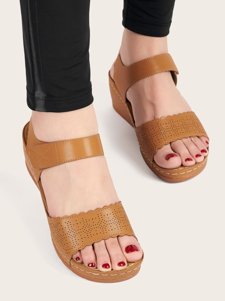 Hollow Out Ankle Strap Wedge Sandals