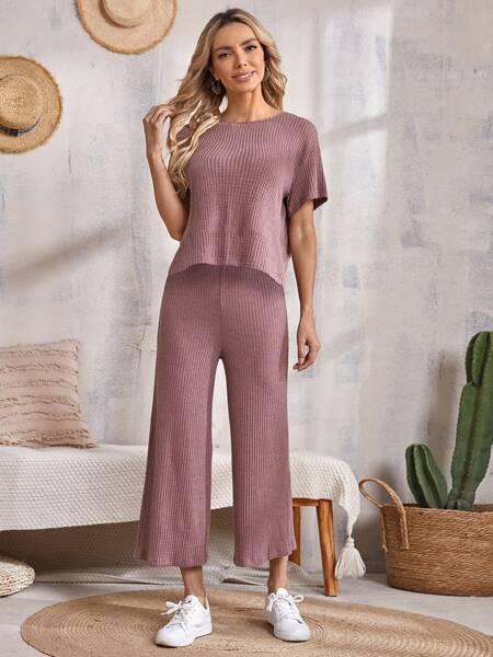 Drop Shoulder Waffle Knit Tee & Wide Leg Pants Set