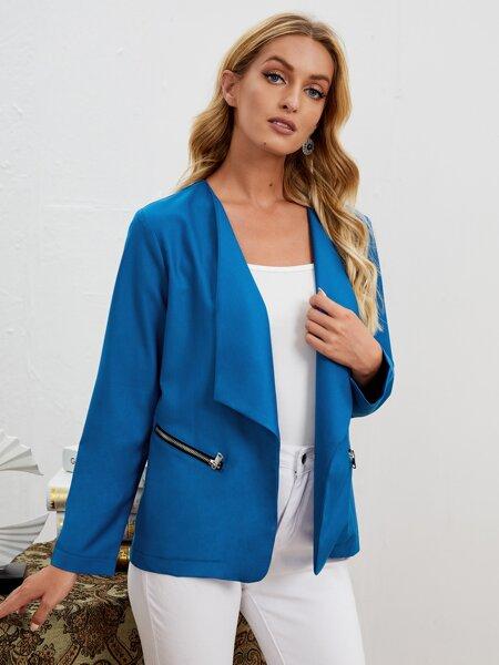 Decor Zip Waterfall Collar Coat