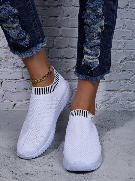 Striped Pattern Slip-On Running Shoes