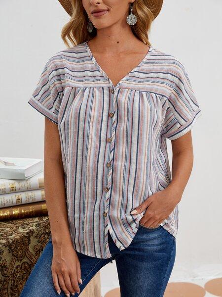 Colorful Stripe Button Front Blouse