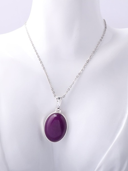 Platinum Plated Stone Charm Necklace