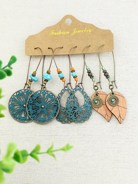 3pairs Hollow Out Drop Earrings