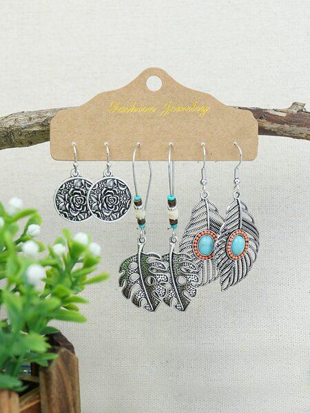 3pairs Leaf Design Drop Earrings