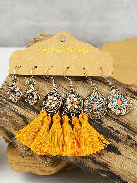 3pairs Rhinestone Decor Tassel Drop Earrings