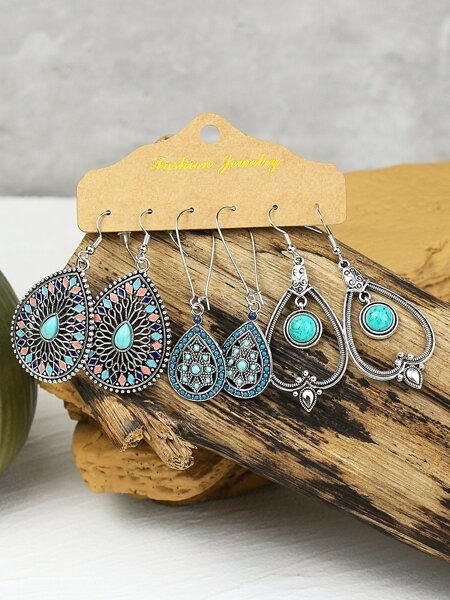 3pairs Stone Decor Water Drop Earrings