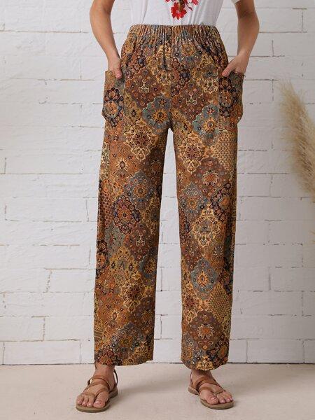 Floral Print Slant Pocket Elastic Waist Pants