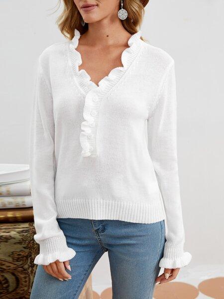 Frill Trim Half Button Sweater