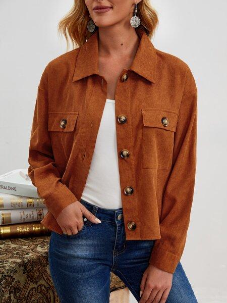 Flap Pocket Drop Shoulder Jacket