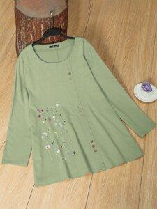 Plus Floral Embroidery Button Detail Blouse