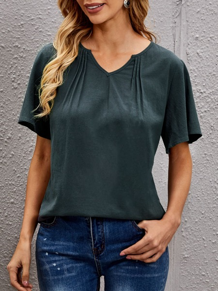 Plicated Detail Notched Neck Blouse