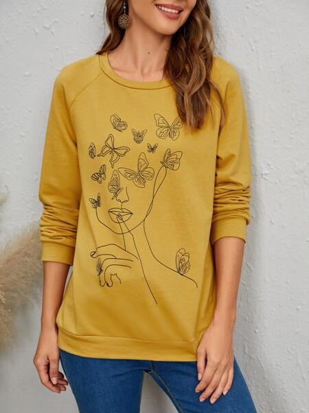 Figure & Butterfly Print Raglan Sleeve Sweatshirt