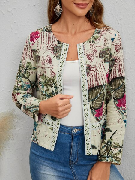Quilted Allover Plants Print Jacket