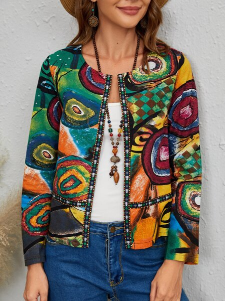 Quilted Allover Print Open Front Jacket