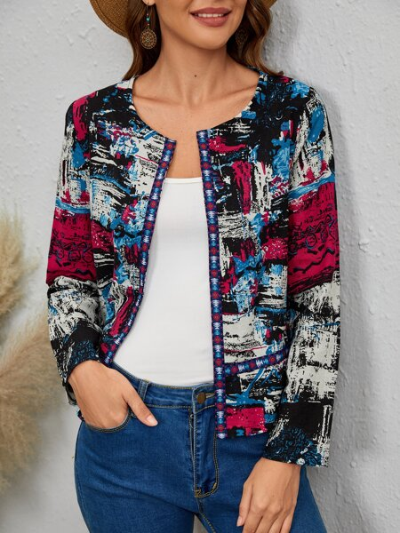 Quilted Allover Print Jacket