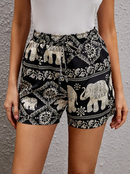Elephant & Floral Print Knot Front Shorts