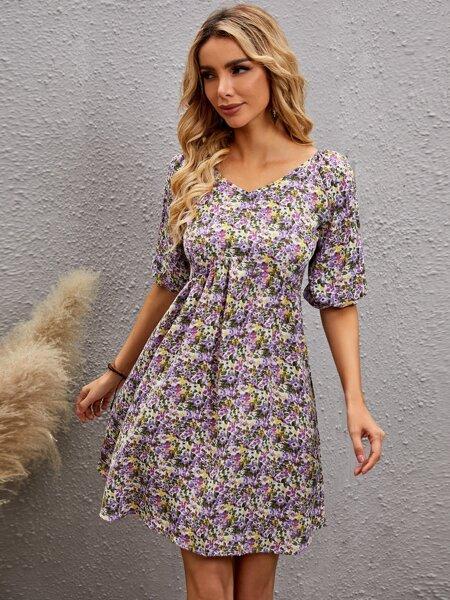 Floral Print Lantern Sleeve A-line Dress