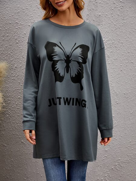 Butterfly And Letter Graphic Longline Sweatshirt