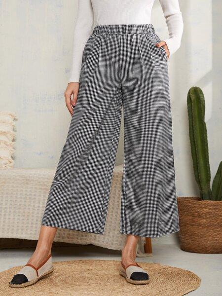 Gingham Print Slant Pocket Wide Leg Pants