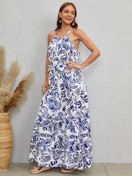 Allover Leaf Print Belted Halter Dress