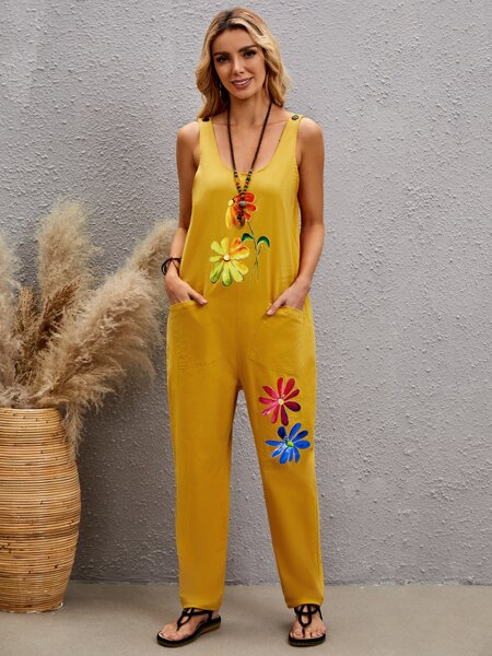 Floral Print Scoop Neck Overall Jumpsuit