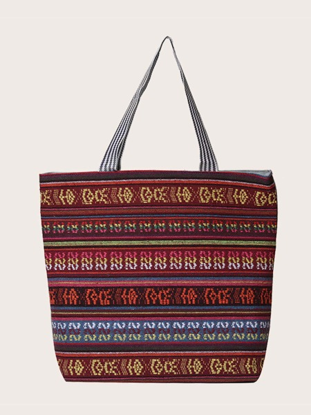 Colorblock Geometric Pattern Shoulder Tote Bag
