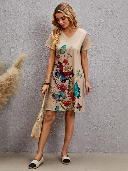 Butterfly And Flower Print Tee Dress