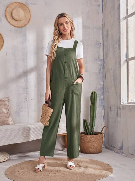 Dual Pocket Single Breasted Overalls