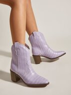 Croc Embossed Point Toe Chunky Western Boots