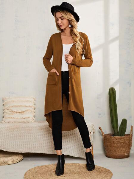 Dual Pocket High Low Hem Coat