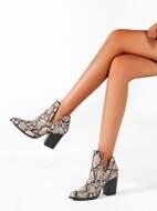 Snakeskin Pattern Chunky Boots
