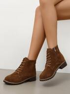 Minimalist Lace-up Front Block Heeled Boots