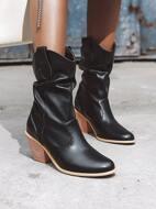 Minimalist Chunky Heeled Western Boots