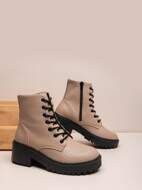 Lace-up Front Side Zipper Chunky Boots