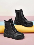 Marble Lace-up Combat Boots