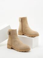 Suede Side Zip Buckle Detail Classic Boots
