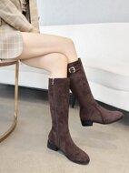 Suede Buckle Detail Side Zip Over Knee Boots