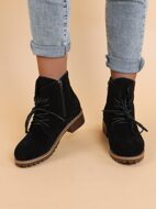 Suede Side Zip Lace-up Boots