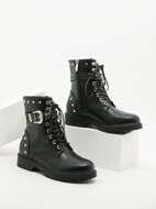 Buckle Detail Studded Decor Combat Boots
