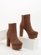 Suede Side Zipper Platform Boots