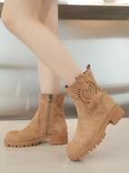 Solid Hollow Out Side Zipper Boots