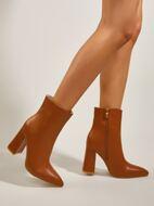 Minimalist Side Zipper Chunky Heeled Classic Boots