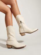 Minimalist Side Zipper Western Boots