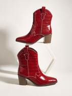Allover Croc Embossed Chunky Boots