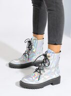 Holographic Chain Decor Combat Boots