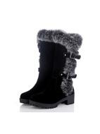 Buckle Decor Fluffy Mid Calf Boots