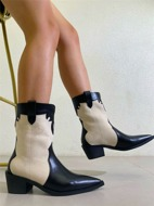 Two Tone Point Toe Chunky Heeled Riding Boots