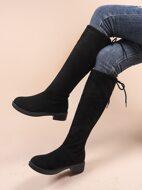 Velvet Tie Back Chunky Heeled Knee Boots