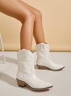 Solid Quilted Point Toe Western Boots